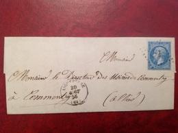 1856 Aigueperse Pour Commentry Bureau De Passe 2563 - Marcophilie (Lettres)