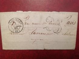 1851 Compiegne Pour Paris Taxée 25 - Marcophilie (Lettres)