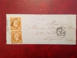 1856 13B Sur Fragment Marges De Luxe La Châtre PC 818 - Marcophilie (Lettres)