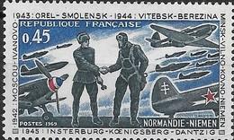 FRANCE 1969 25th Anniv Of Resistance And Liberation - 45c French Pilot, Soviet Mechanic And Yakovlev Yak-9 Aircraft MNH - Neufs