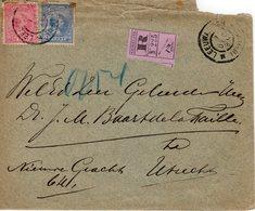 7 DEC 98 Aangetekende Envelop Met NVPH 35 En 37  Van Leeuwarden Naar Utrecht - Periode 1891-1948 (Wilhelmina)