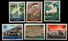 Turkey 1955 Tourisme - Antalya - 6 Values MNH - Waterfall, Selcuk Wharfs, Aspendos Theatre, St Nicolaus Church Myra, - Vacaciones & Turismo
