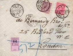 16 JUL 98 Voorfront Van Aangetekende Envelop Met NVPH 37 En 42  Van Amsterdam Naar Londen - Periode 1891-1948 (Wilhelmina)