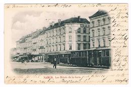 CPA Dos Non Divisé : NAMUR - Les Hôtels De La Gare - Tramway  - 1900 - Namur