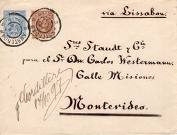 24 SEP  97  Envelop G6 Met NVPH 36 Via Lissabon Naar MONTEVIDEO - Periode 1891-1948 (Wilhelmina)