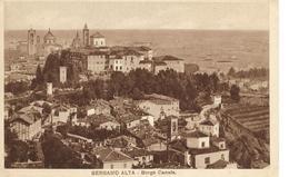2 CARTOLINE DI BERGAMO ALTA. BORGO CANALE NON VIAGGIATA E BASILICA DI S.MARIA MAGGIORE VIAGGIATA PER L'INGHILTERRA 1929. - Bergamo