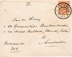 9 NOV 95 Lokaal Envelopje Amsterdam Met NVPH 34 - Periode 1891-1948 (Wilhelmina)
