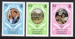 DOMINICA - 1981 ROYAL WEDDING SET (3V) FINE MNH ** SG747-749 - Dominica (1978-...)