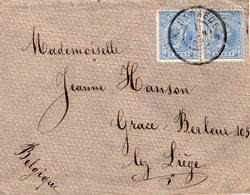 1 JAN 98   Envelop Met Paar  NVPH 35 Met Grootrond KERKRAEDE Naar Montegnee (tussen Luik En  Grace) - Periode 1891-1948 (Wilhelmina)