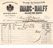 FACTURE De 1865  Du TAILLEUR DE CHEMISES MARC HALFF (fournissuer De La Cour D'Italie) - Textile & Clothing