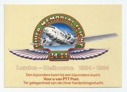NL.- UIVER MEMORIAL FLIGHT. LONDON MELBOURNE 34-84. UIVER HERDENKINGSVLUCHT. VIC 3045 MELBOURNE AIRPORT 5 FEB 1984 - Missions
