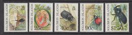 1990 Solomon Islands  Crop Pests Weevil, Fly, Beetles Set Of 5 MNH - Salomon (Iles 1978-...)