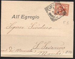 ITALY ITALIA ITALIEN 1905. Postal History Envelope Use By The Municipality Of FABRIANO S. SEVERINO - Italia