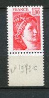 9459  FRANCE  N°1972c ** 1F Rouge  Sabine  Gomme Tropicale, Sans Bandes  Phosphorescentes  1977  SUPERBE - 1977-81 Sabine De Gandon