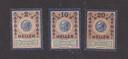 3 Austria Revenue Stempelmarken - Kronenwährung 2,10 + 20 Heller - 1.1.1910 - Ungebraucht - Gummiert - Fiscales
