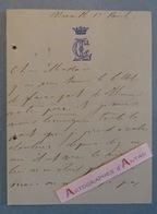 L.A.S Fin XIXè - Baronne De CASTILLE - Marseille - Lettre Autographe LAS Noblesse Aristocratie - Autógrafos