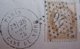 R1712/64 - ✉️ (LAC) - CERES N°55 - ETOILE N°26 - CàD : PARIS GARE DU NORD / 28 AOÛT 1875 - 1871-1875 Cérès