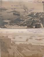 """2 CARTE PHOTO:GRÈCE CORFOU BÂTEAUX ESCADRE FRANÇAISE,BÂTEAU CUIRASSÉ """"COURBET"""" CAMPAGNE 1916-1917..ÉCRITES - Grèce"""