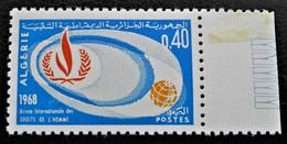 DROITS DE L'HOMME 1968 - NEUF ** - YT 468 - MI 500 - BORD DE FEUILLE - Algeria (1962-...)