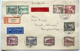 Deutsches Reich 1937: Express R-Brief Mi 634-642 (WHW 1936 Mit 2 ZDR-Paaren) O DRESDEN 11.6.37 Nach Zürich (Schweiz) - Duitsland