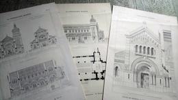église De Bredons Cantal 3 Planches La Construction Moderne  Architecture Dessin - Auvergne