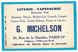 Buvard - LITERIE TAPISSERIE G. MICHELSON  Rue De La Glacière, PARIS 13e - Sommier, Matelas, Fautueil, Canapé.... - Buvards, Protège-cahiers Illustrés