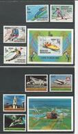 CENTRAFRIQUE  Scott C216-9 C220, 445-8 449 Yvert PA208-11 BF37, 446-9 BF46 O (8+2blocs) Cote 8,50 $ 1979-81 - Centrafricaine (République)