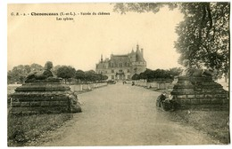 CPA 37 Indre Et Loire Chenonceaux Entrée Du Château Les Sphinx - Chenonceaux