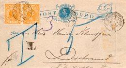 Postblad G1 Zonder Randen  Bijgefrankeerd Met Paar  NVPH 34 Met Treinstempel UTRECHT-ROTTERDAM VI En T(ax) Bemerking - Entiers Postaux