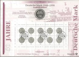 Monnaie , Allemagne , Commémorative , 10 Deutsche Mark + Bloc De 10 Timbres , 50 Jahre 1948-1998 ,2 Scans - [10] Commémoratives