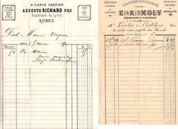 2 FACTURES De Négociants à Naucelle Et Rodez Datées De 1870 & 1888 - Chemist's (drugstore) & Perfumery