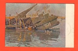 Obice Su Pontone Tigre A Canale Di Cenesa Basso Piave Cpa 1919 A. Sartorio 1WW - Reggimenti