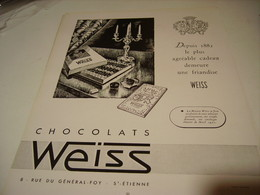 ANCIENNE PUBLICITE CHOCOLAT WEISS 1950 - Posters