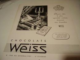 ANCIENNE PUBLICITE CHOCOLAT WEISS 1950 - Affiches