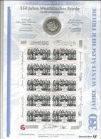 Monnaie, Allemagne, Commémorative, 10 Deutsche Mark + Bloc De 10 Timbres, 350 Jahre Westfälischer Friede, 1998, 2 Scans - [10] Commémoratives