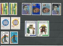 CENTRAFRIQUE  Scott 491-2, 556-9, 549-0, 570-1, 508-9 Yvert 468-9, 444A-D, 534-5,536-7,501-2 ** (12) Cote 11,50 $ 1981-2 - Centrafricaine (République)