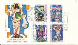 Vatican FDC 10-3-1983 Holy Year Complete Set Of 4 With Cachet - FDC