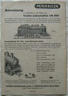 MÄRKLIN 00 Gebrauchsanweisung 800 1950 - Spoor OO