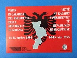 CARTOLINA PUBBLICITARIA FORMATO GRANDE NON VIAGGIATA VISITA IN CALABRIA DEL PRESIDENTE DELLA REPUBBLICA DI ALBANIA - Manifestazioni