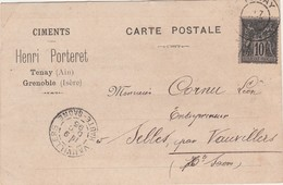 Carte Commerciale 1895 / Ciments Henri PORTERET / 01 Tenay / 38 Grenoble / Timbre Sage 103 - Maps