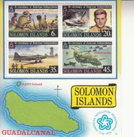 1976 Solomon Islands Bi-centenary Of American Independence Planes, Boats, Map Souvenir Sheet Of 4 MNH - Salomoninseln (Salomonen 1978-...)