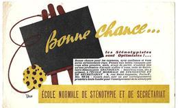 Buvard - ECOLE NORMALE De STENOTYPIE Et De SECRETARIAT Paris 2e - BONNE CHANCE Pour Les Examens - Buvards, Protège-cahiers Illustrés