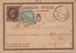 Entier Postal Avigliana Italie Lanslebourg France 1876 - 1861-78 Victor Emmanuel II.