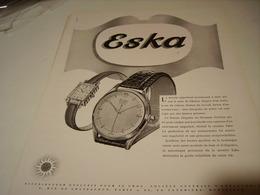 ANCIENNE PUBLICITE MONTRE SUISSE  ESKA 1950 - Bijoux & Horlogerie