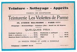 Buvard - TEINTURERIE Les VIOLETTES De PARME à PARIS 17e - Teinture, Nettoyage, Apprêts - T