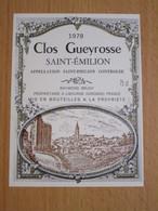 ETIQUETTE DE VIN SAINT-EMILION CLOS GUEYROSSE 1978 - Bordeaux