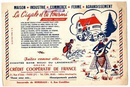 Buvard - CREDIT COOPERATIF De FRANCE à PARIS 2e - La Cigale Et La Fourmi, Illust. POMANDRE - Bank & Insurance