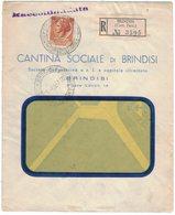 ZN69   Storia Postale 1960 Busta Pubblicitaria Cantina Sociale Brindisi - Racc. Siracusana £.80 Isolato - 6. 1946-.. Repubblica
