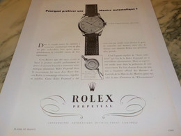 PUBLICITE AFFICHE MONTRE ROLEX PERPETUAL 1950 - Bijoux & Horlogerie