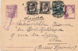 Entier Postal Madrid Succursale Censurada Pour Pau - 1931-....